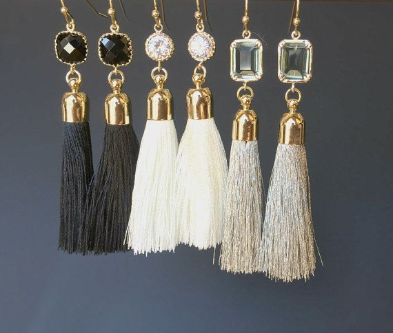 Gray Silk Tassel 16K Polished Gold Plated over Brass Cap Size = 7mm x 34mm  Earrings Color = Matte Gold Material = Brass Size = 13mm x 28mm  Earring