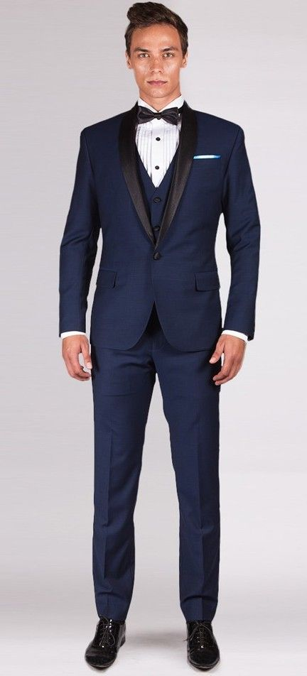 THE AVENGER - MIDNIGHT BLUE 3 PIECE TUXEDO Incorporate a sharp modern look with this three piece precision cut Tuxedo in midnight blue. It features satin trimming on the lapel (shawl collar), pocket besom, button and pants waistband or outseam. It is stylish and versatile. Dress it up with accessories that define your style and complete your look.