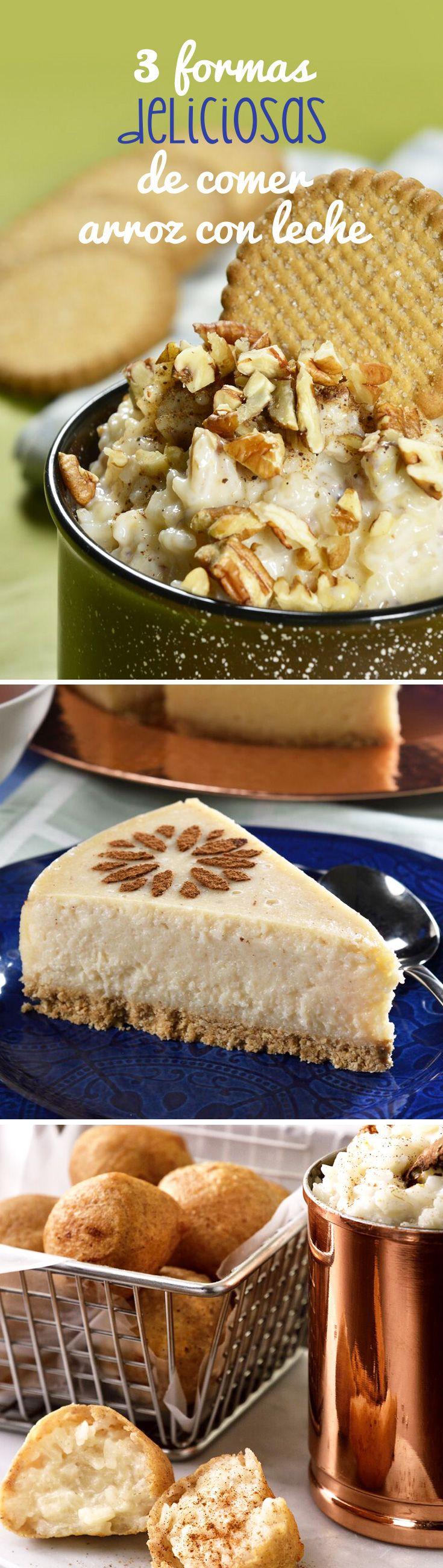 Si eres fanático del arroz con leche, estas 3 forrmas de prepararlo te van a encantar. Prepara un arroz con leche tradicional, una tarta o unas bolitas fritas de arroz con este paso a paso y las recetas en www.kiwilimon.com