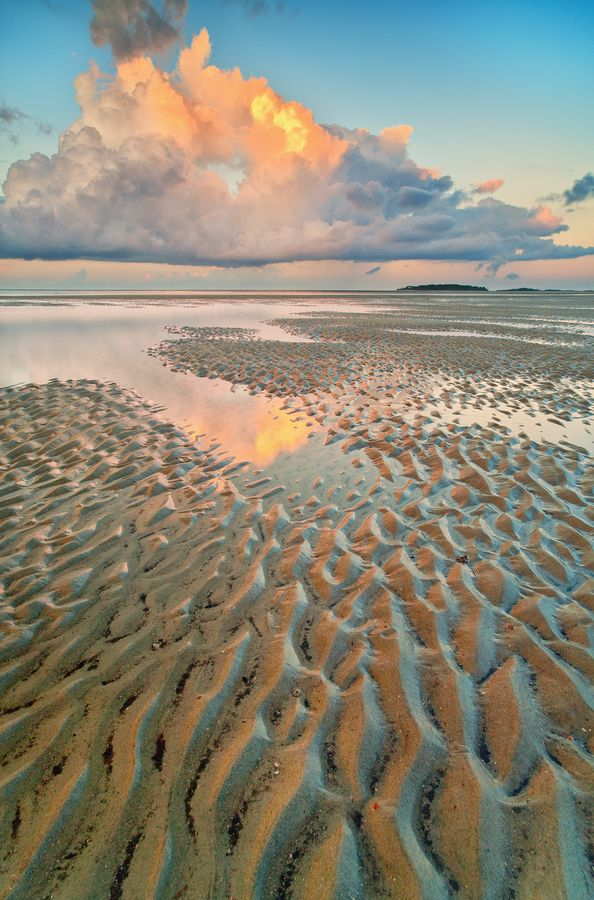 Tybee Island, Georgia USA at low tide | Photo by Julian De La Rosa III