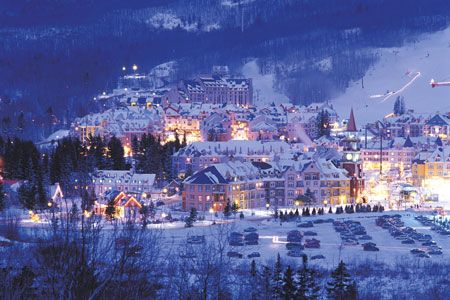 Beautiful night shot of Mont Tremblant Village with its colourful lights shining like a beacon of delight #Tremblant