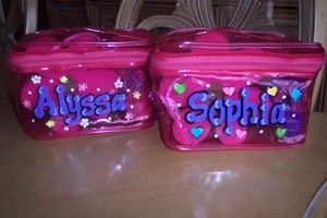 Little Girls Spa Birthday Party Ideas | Party Favor Girls Kids Spa Bag or pick up a plain zippered lunch bag from dollar store and paint each childs name on the side of it.