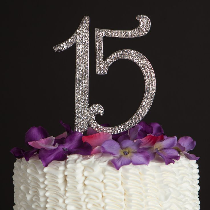 15 Cake Topper - 15th Birthday Quinceañera Decoration - Silver Rhinestone Metal Number - Party Supplies and Ideas by EllaCelebration on Etsy https://www.etsy.com/listing/259723325/15-cake-topper-15th-birthday-quinceanera