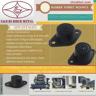 Rubber Turret Mounts | Anti Vibration Mounting Pad    With an increasing demand for vibration and noise reduction in industrial setups, and other mechanical equipments located in offices, residential complexes, studios, educational and medical institutions and research laboratories, E&B Rubber has started manufacturing operations as a joint venture company with Talleres Egaña, Spain with the aim to establish itself as a leading manufacturer of anti vibration mounts & rubber metal bonded…