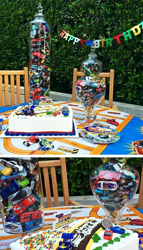 Kick your kid's party into high gear with this centerpiece. Take a clear bowl or vase and fill them with Hot Wheels cars so that fun is always within reach. Only after they've cleared their plates of course. More
