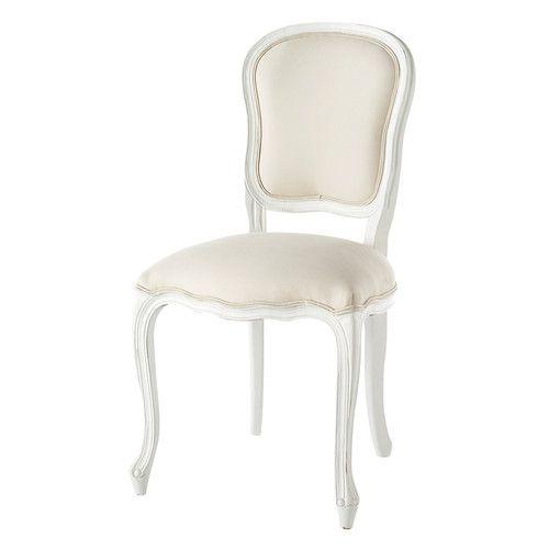 Sedia bianca in cotone e legno