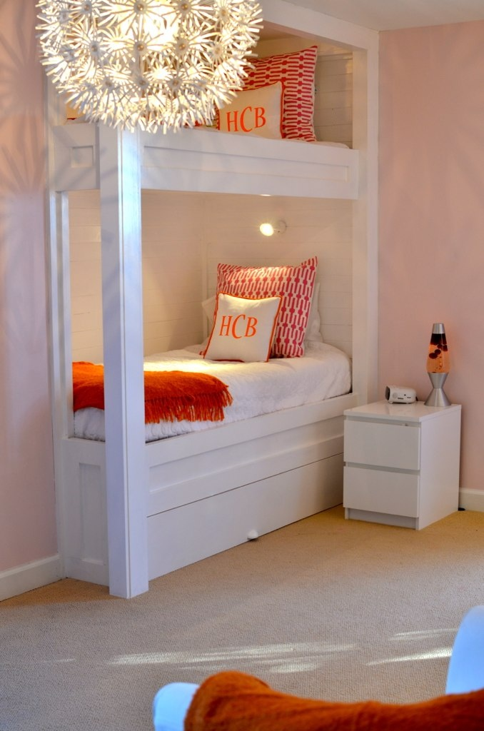 Bunk beds: Toddlers Rooms, For Kids, Bunk Beds, Monograms Pillows, Bunk Rooms, Guest Rooms, Girls Rooms, Built In Bunk, Kids Rooms