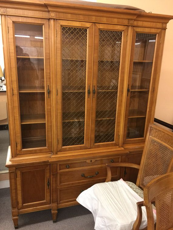 Reduced ... French Mid century modern , Thomasville pecan and teak ? Dinning set , hutch , 6 chairs , table