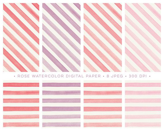 Pink Watercolor Digital Paper Pack with Lines and Stripes. background patterns for design, blogs, desktop, scrapbooking and more. Printable By Lef Design on Etsy