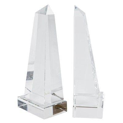 Regina Andrew Decor Crystal Obelisk Bookend Set
