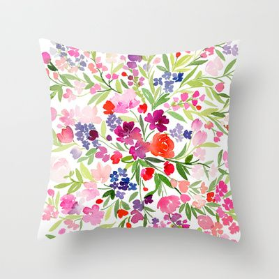 Omgoodness!!! Ive found my fav! Whats yours?! Field of Spring Flowers Throw Pillow by Yao Cheng Design - $20.00. www.society6.com