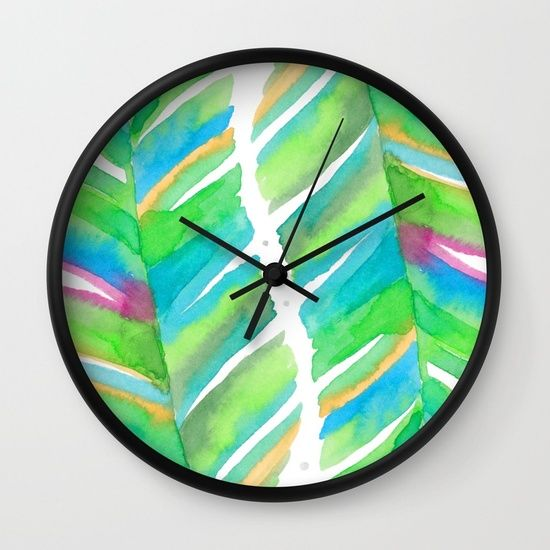 Abstract Tropical Banana Leaves - Green Palette Wall Clock