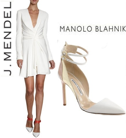 It really is all white this season and Absolutely loving this simple elegant pairing of J.Mendel long sleeve dress with Manolo Blahnik Misto leather shoes!