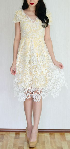 Elegant V-Neck Cap Sleeve Crochet Flower Lace Dress For Women