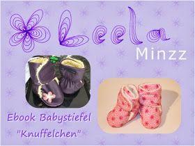 """Leela Minzz: Freebook Babystiefel """"Knuffelchen"""" - für gratis Schnittmuster und Bildanleitung einfach aufs Bild clicken - click on the Picture for free pdf pattern and Picture tutorial"""