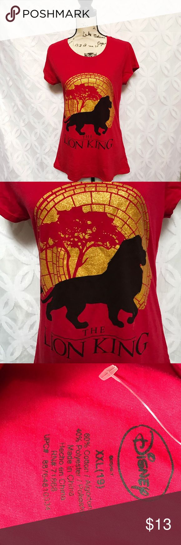 """Disney The Lion King Sunset Mufasa  Glitter Tee Disney The Lion King Sunset Mufasa Gold Glitter Tee NWOT.  Measurements Laying Flat Size 🔹XXL Armpit to Armpit 🔹19 Shoulder to Hem 🔹28"""" Bundle to Save 🤓 Sorry NO outside transactions 🚫 NO trades 🚫 Happy Poshing 🦋 Offers welcomed 👍 NO Low balling 👎👎 All items from a pet 😼and Smoke Free Home Disney Tops Tees - Short Sleeve"""