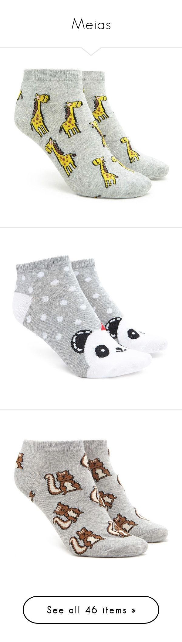 """""""Meias"""" by liviunnie ❤ liked on Polyvore featuring intimates, hosiery, socks, ankle socks, giraffe socks, tennis socks, short socks, giraffe print socks, forever 21 socks and forever 21"""