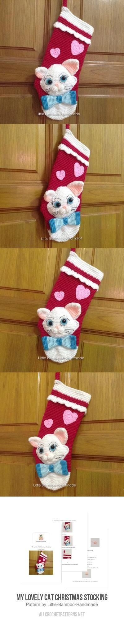 Christmas stocking decoration ideas - My Lovely Cat Christmas Stocking Crochet Pattern