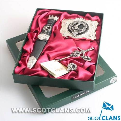 Clan Crest Kilt Accessory Gift Set Set of Kilt accessories in this magnificent boxed gift set, Pewter belt buckle, cufflinks and kilt pin with stainless steel handle sgian dubh, all with your choice of clan crest.  Scotclans, a website dedicated to Scotti