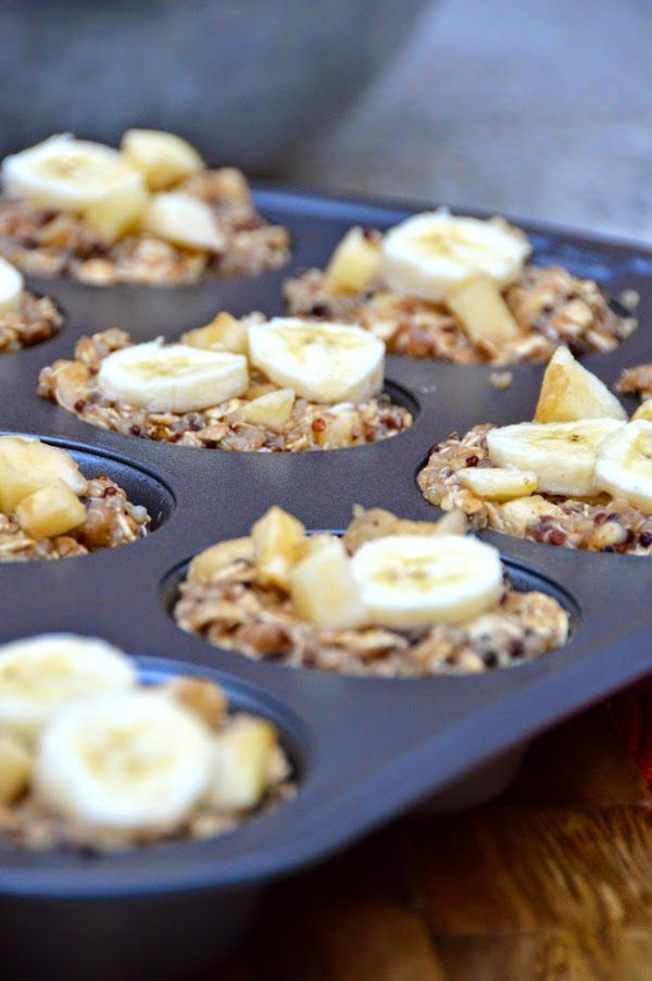 Apple Banana Quinoa Breakfast Cups //   *½ cup applesauce *1 cup mashed banana (about 3 bananas) *1 banana for slicing *1 cup cooked quinoa (about ½ cup dry) *2 ½ cups old-fashioned oats *½ cup almond milk *¼ cup honey *1 tsp vanilla extract *1 tsp cinnamon *1 apple, peeled and chopped
