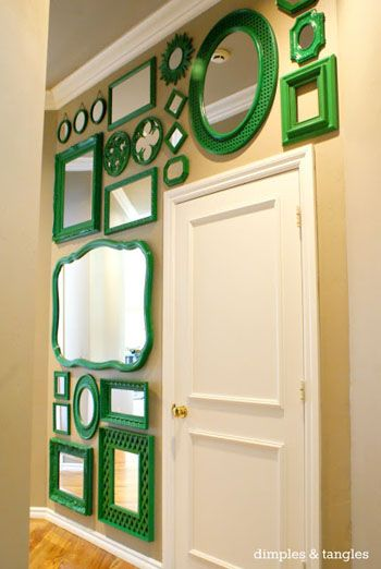 new way to add a punch of color to a space! green framed mirrors