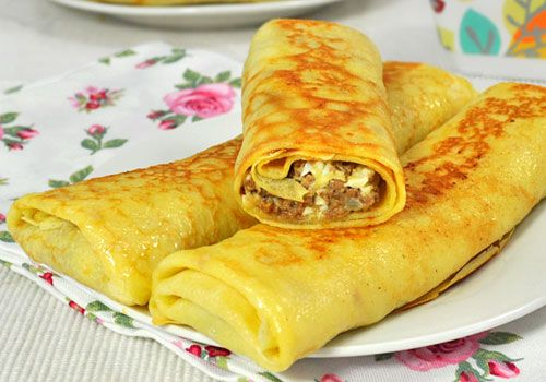 Crepes with Ground Beef Filling