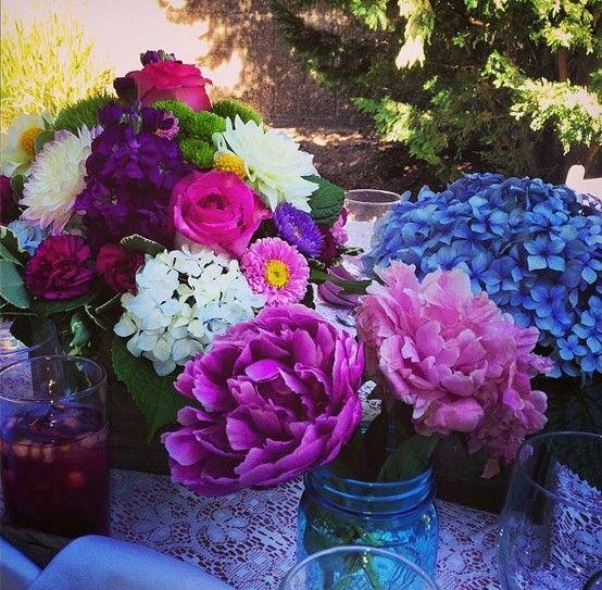 flowers, bridal shower, mason jars, peonies, blue mason jars, dalias, hydrangeas, sea of flower, lace, pink, white