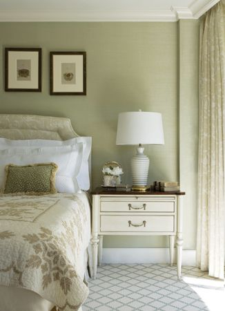 Walls in sage green create a soothing backdrop in the master suite.