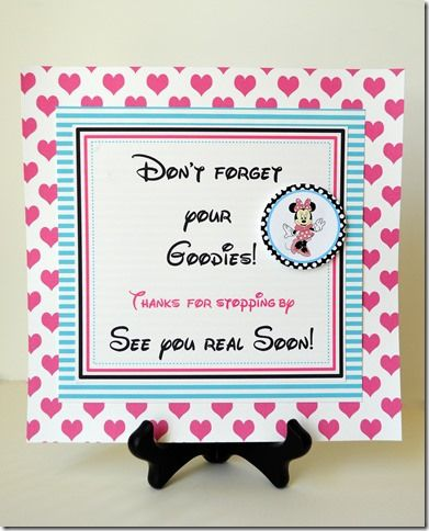 Minnie Mouse Party Favor Sign