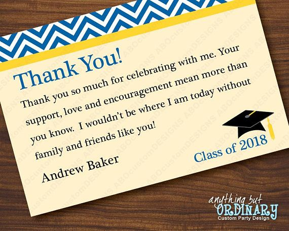 Blue And Yellow Graduation Thank You Note Chevron Top Flat Editable Thank You Car Graduation Thank You Cards Thank You Notes Graduation Thank You Card Sayings