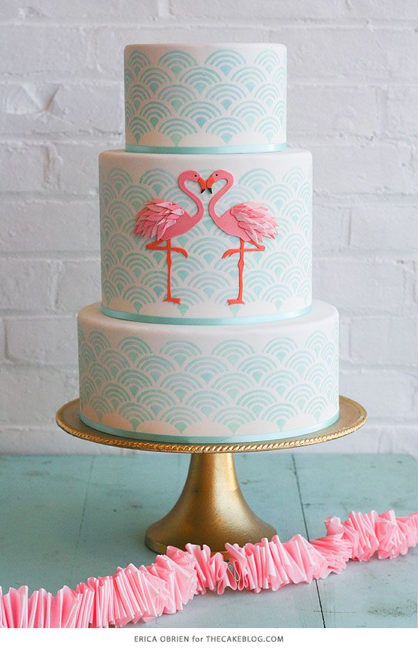 Flamingo Cake Inspiration. Learn how to make this cake with behind the scene details and tips from Erica OBrien on TheCakeBlog.com.