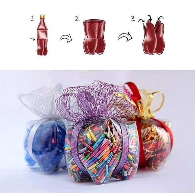 Tuto simple et écologique pour un paquet cadeau original ! #cadeaux #paquet #emballage #recyclage #bouteille http://www.ideecadeau.fr