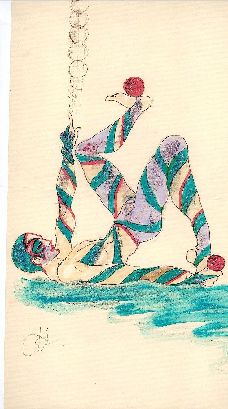 Schizzo del costume per il giocoliere, Circus La Rosa Mannequins