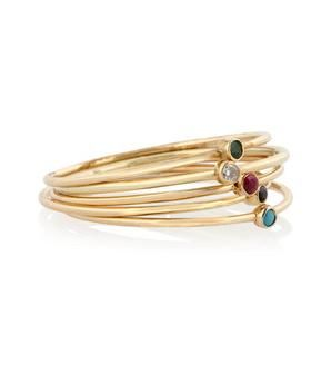 Set of five 18-karat gold multi-stone stackable rings