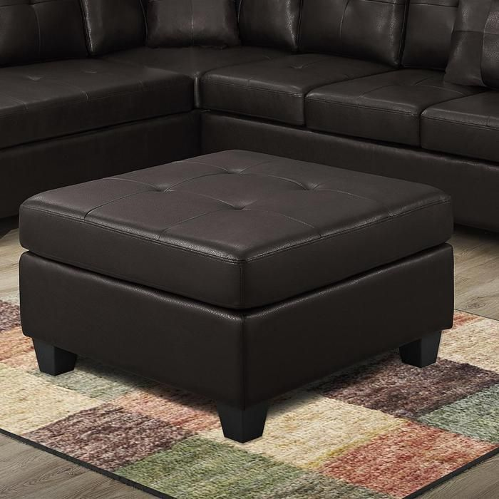 Bonded Leather Ottoman In Dark Brown   Nebraska Furniture Mart
