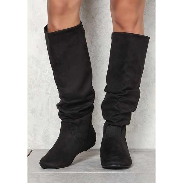Plus Size Clothing | Suedette Ruched Knee High Boots | Debshops ($17) ❤ liked on Polyvore featuring intimates, hosiery, socks, plus size hosiery, scrunch socks, plus size socks and plus size womens socks