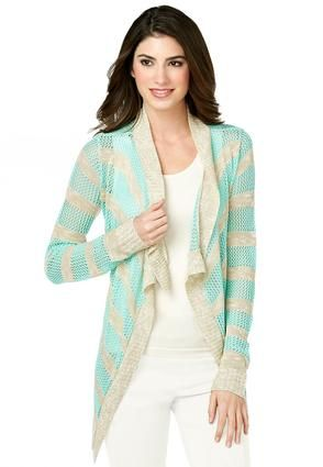 Cato Fashions Striped Pointelle Waterfall Cardigan #CatoFashions
