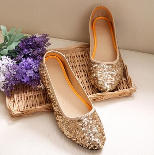 2017 Spring Bling Women Flats Sequined Fabric Woman Loafers Comfortable Old Peking Ballerina Flat Shoes Sapato Feminino Gold