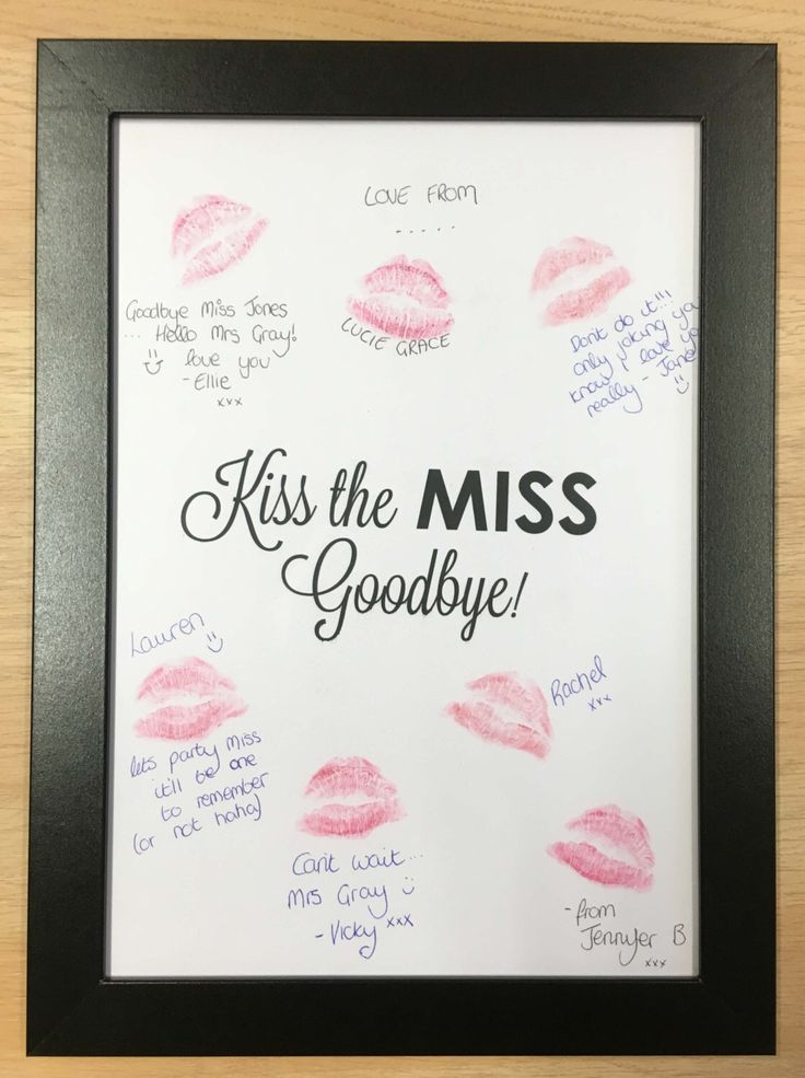 This is the most adorable thing I've seen. Lipstick Kiss Frame Hen Party Night Do Bachelorette keepsake gift for bride to be game guest book Kiss the Miss Goodbye HPLSF103 by FancyPantsStoreLtd on Etsy https://www.etsy.com/listing/263689885/lipstick-kiss-frame-hen-party-night-do