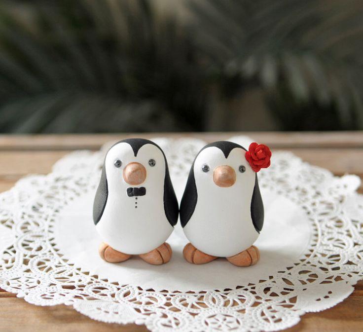 Wedding Cake Topper -- Penguin Cake Topper -- Small by RedLightStudio on Etsy https://www.etsy.com/listing/100540294/wedding-cake-topper-penguin-cake-topper