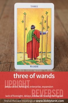 Three of Wands #tarotcardmeaning learn more at	http://www.biddytarot.com/tarot-card-meanings/minor-arcana/suit-of-wands/three-of-wands/