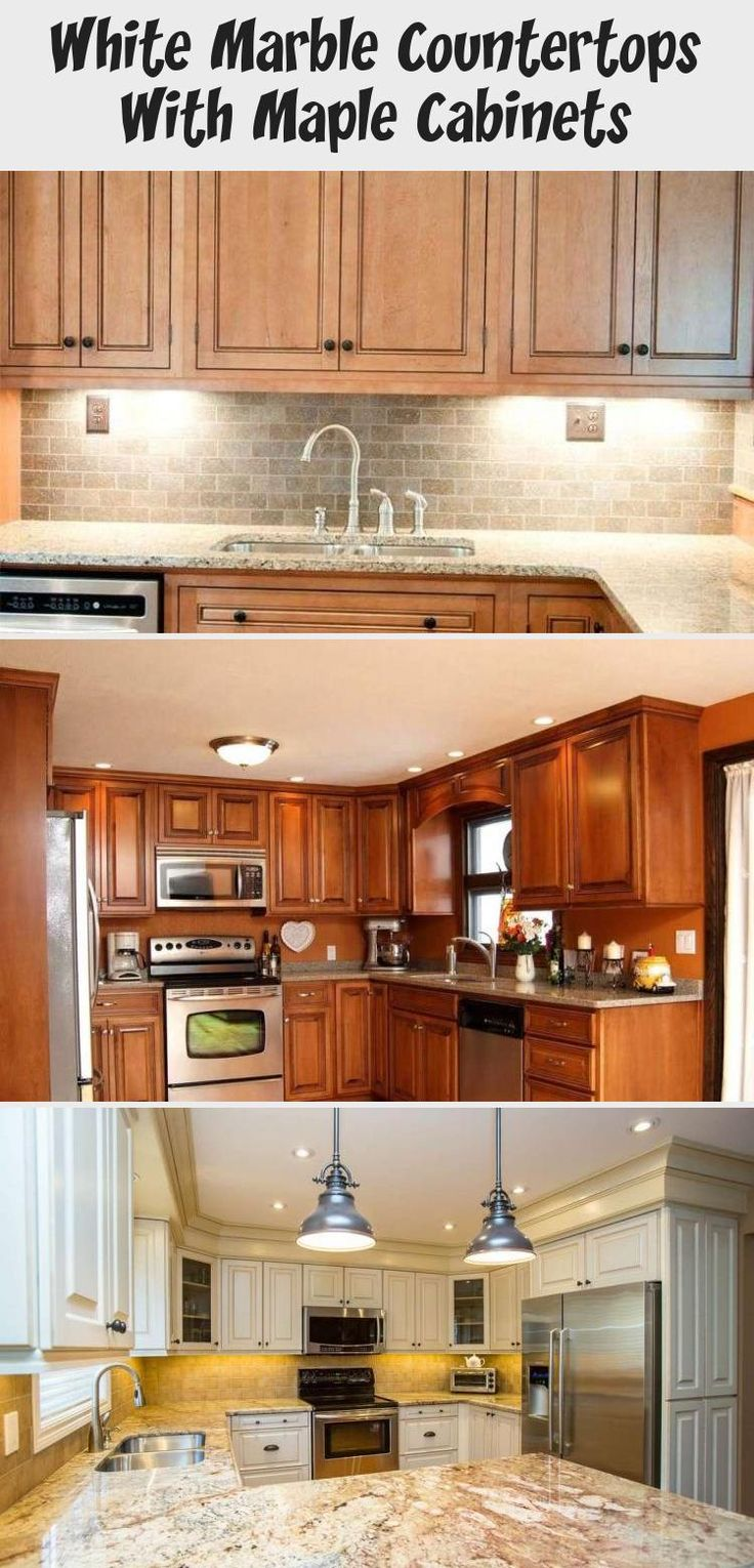 White Marble Countertops With Maple Cabinets in 2020 ... on Maple Cabinets With White Countertops  id=35945