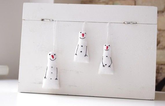 Holiday ornaments. A set of 3 snowman by adatine on Etsy