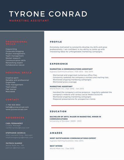 Dark Blue and Red Corporate Resume