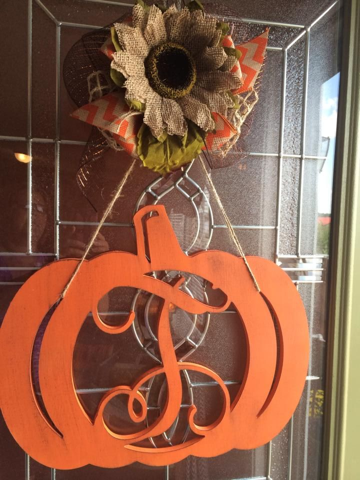 Fall door wreath with initial