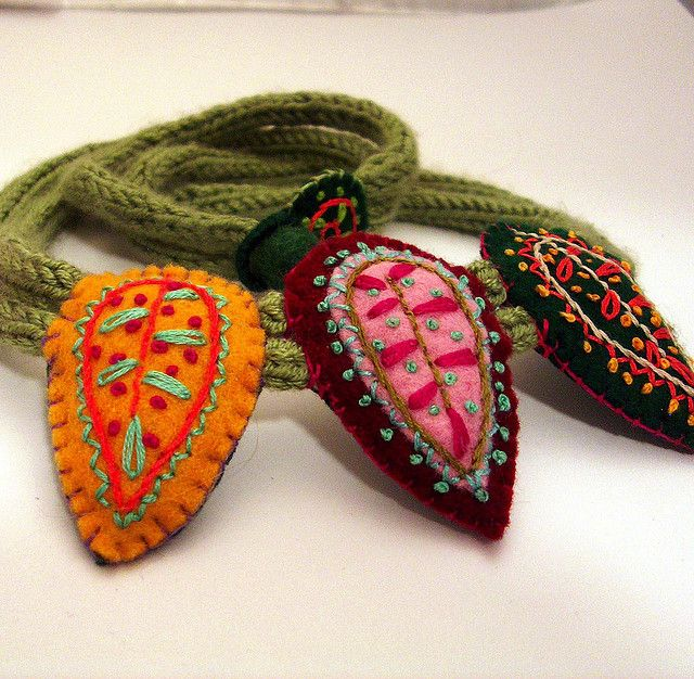 Embroidered Felt Necklace NO. 63 --- Green, Red, Yellow, Pink, Blue   Katrin Lerman