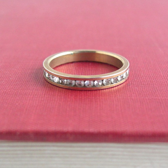 Vintage Eternity Ring / Band Gold w/ Colorless Stones  by lucra, $12.50