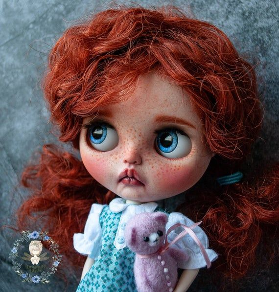 Custom OOAK baby Blythe doll with natural reddish mohair wefts hair and shiny eyes – Polly. Factory TBL based Blythe