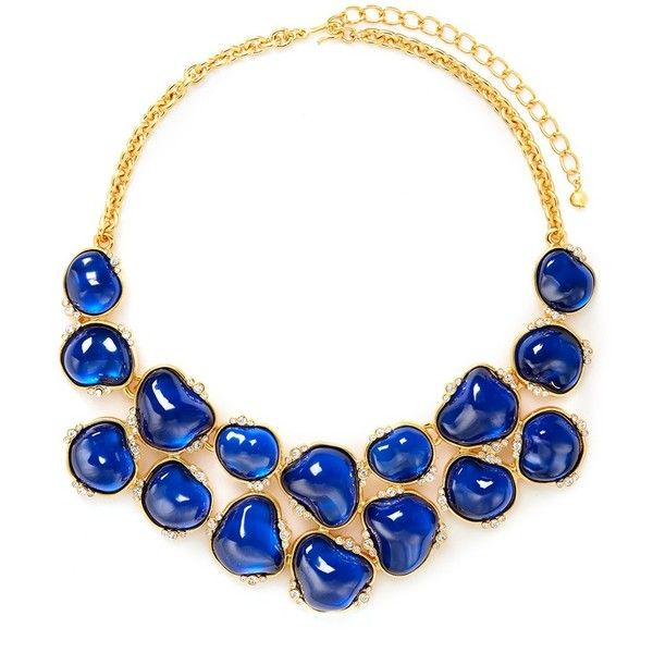Kenneth Jay Lane Baroque stone crystal bib necklace ($620) ❤ liked on Polyvore featuring jewelry, necklaces, blue, stone necklace, charm jewelry, blue stone necklace, crystal jewelry and crystal charms