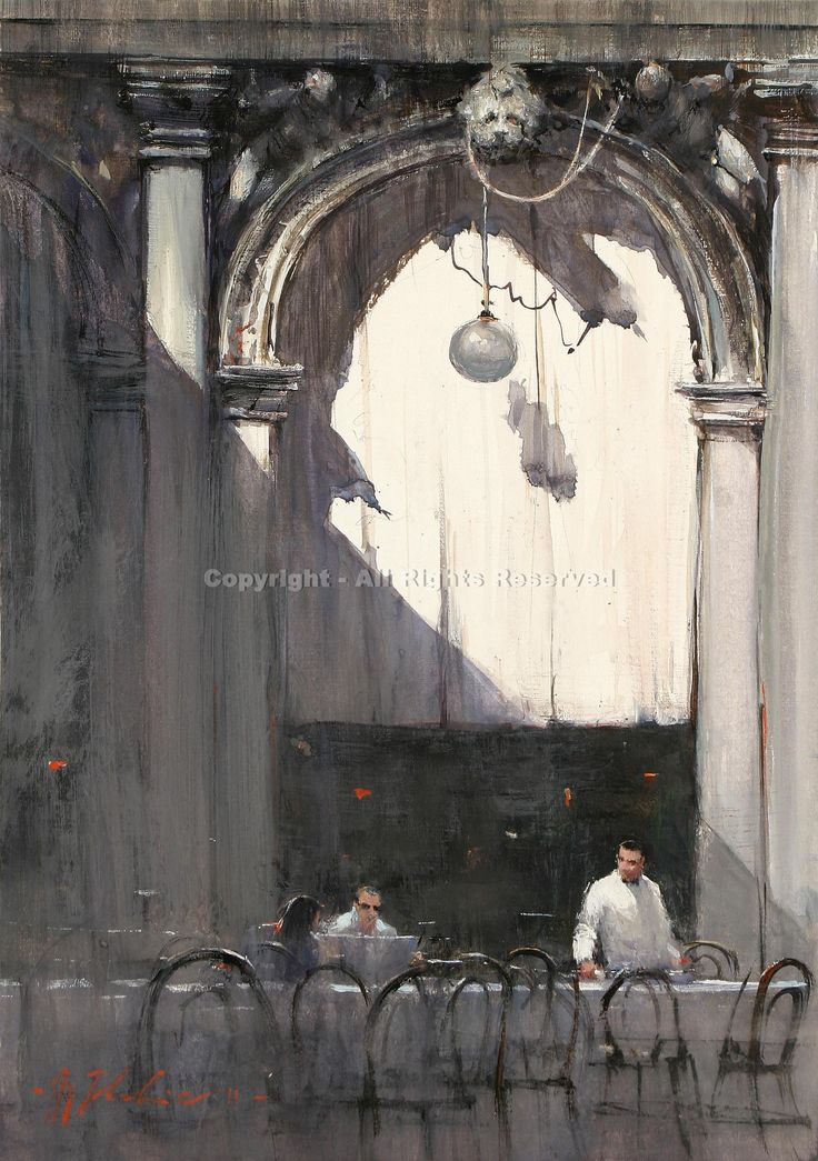 The Last Customers, San Marcos, Venice - Watercolor by Joseph Zbukvic